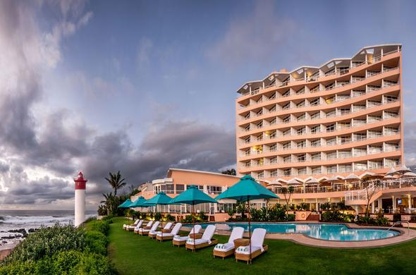 Exterior view of the Beverly Hills Hotel in Umhlanga Rocks.