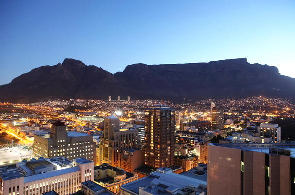 Cape Town city hotels by night.