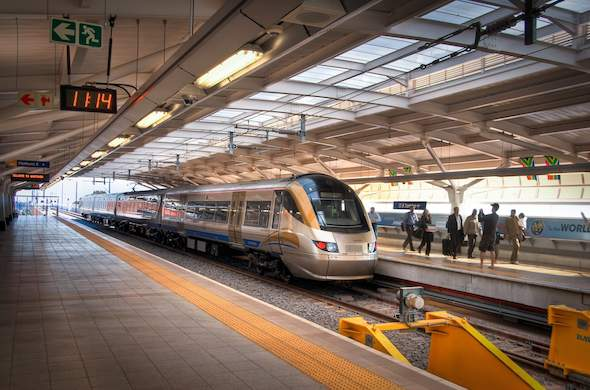Gautrain Express train from O.R Tambo International Airport to hotel.