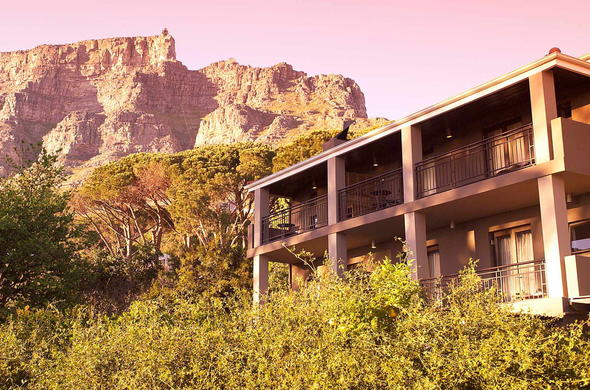 Table Mountain is the backdrop at Kensington Place Hotel in Cape Town.