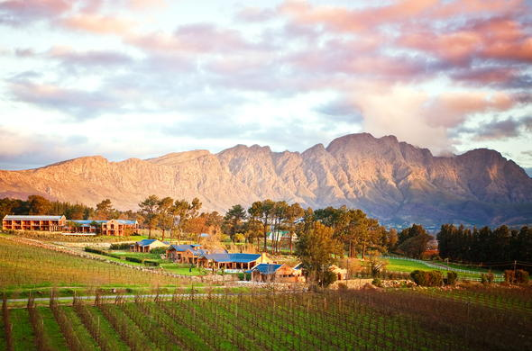 The beautiful La Residence with stunning Franschhoek backdrop.