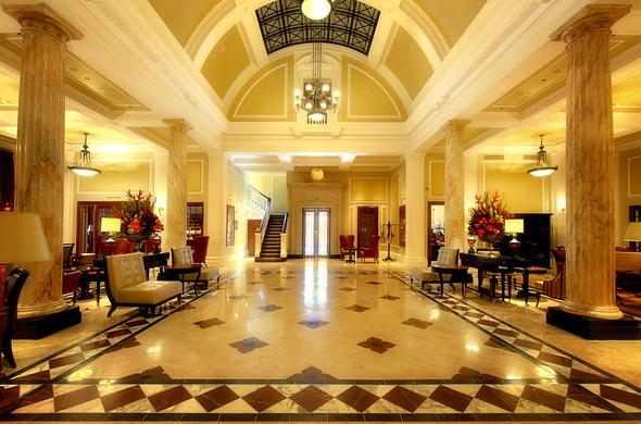 Interior of the lobby at the Taj Hotel in Cape Town.