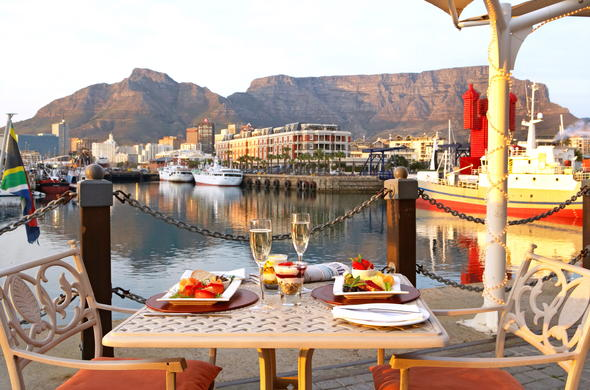 Dine at Victoria and Alfred Hotel with Table Mountain view.