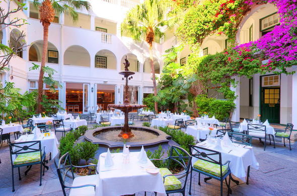 Dine in the stunning Winchester Mansions Hotel courtyard area.
